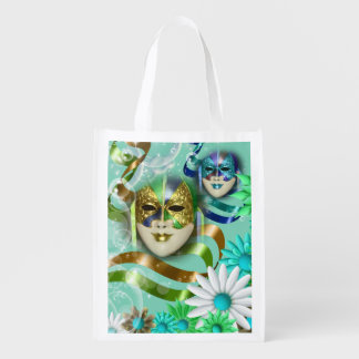 Masquerade wild flower | blue gold green market tote