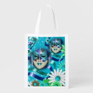 Masquerade wild flower | blue green market tote