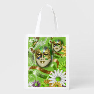 Masquerade wild flower | green gold grocery bags