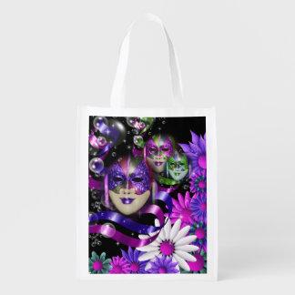 Masquerade wild flower | pink purple market tote