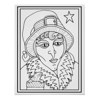 Masquerade Witch Cardstock Adult Coloring Page Poster