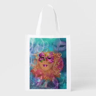 Masquerade woman pink gold mask reusable grocery bag