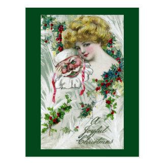 Masquerading Lady and Santa Mask Vintage Christmas Postcard