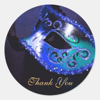 Masqurade Mask Blue Thank You Sticker