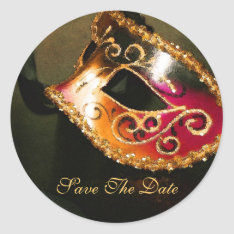 Masqurade Mask Elegant Save The Date Sticker at Zazzle