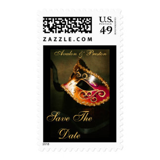 Masqurade Mask Gold Save The Date Postage