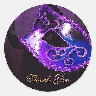 Masqurade Mask Purple Thank You Sticker