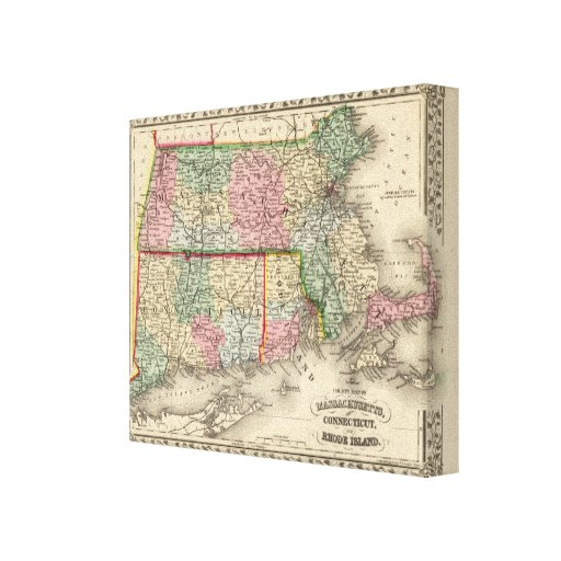 Mass, Conn, RI Map by Mitchell Stretched Canvas Prints
