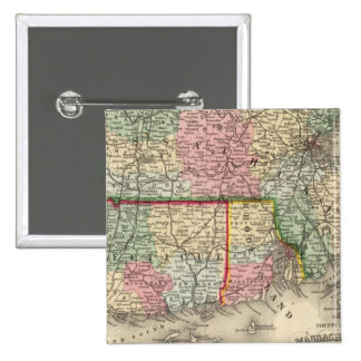 Mass, Conn, RI Map by Mitchell Pinback Button