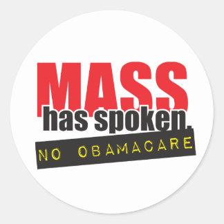 Mass Has Spoken - No ObamaCare Classic Round Sticker