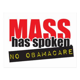 Mass Has Spoken - No ObamaCare Postcard