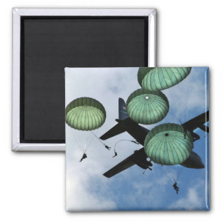 Mass Jump Mission, Parachutes, U.S. Army 2 Inch Square Magnet
