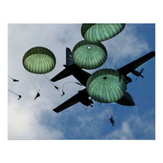 Mass Jump Mission Parachutes U S Army Poster