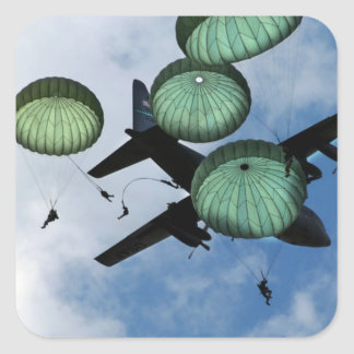 Mass Jump Mission, Parachutes, U.S. Army Square Sticker