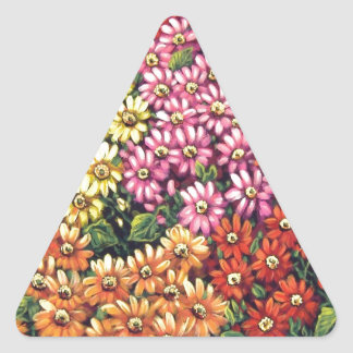 mass of color floral triangle sticker