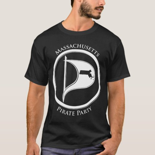 Mass Pirate Flage wText Dark T_Shirt