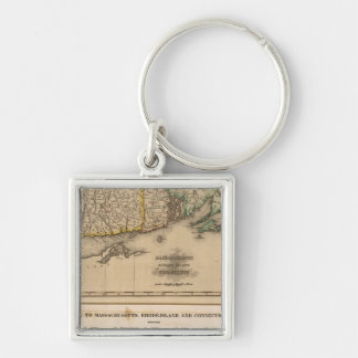 Mass, Rhode Island, Connecticut Silver-Colored Square Keychain