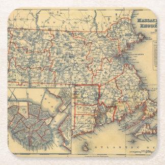 Mass, RI Square Paper Coaster