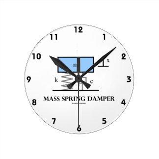 Mass Spring Damper (Physics Diagram) Round Clocks