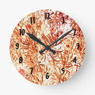 mass succulent invert orange abstract pattern round clock