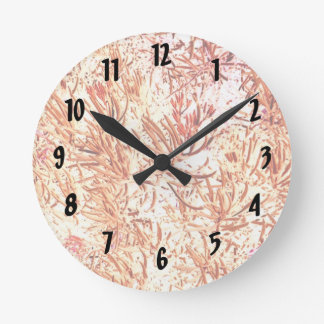 mass succulent invert orange abstract pattern round wall clocks