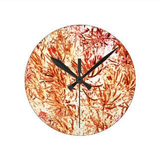 mass succulent invert orange abstract pattern wall clock