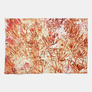 mass succulent invert orange abstract pattern hand towels