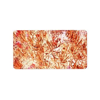 mass succulent invert orange abstract pattern custom address labels
