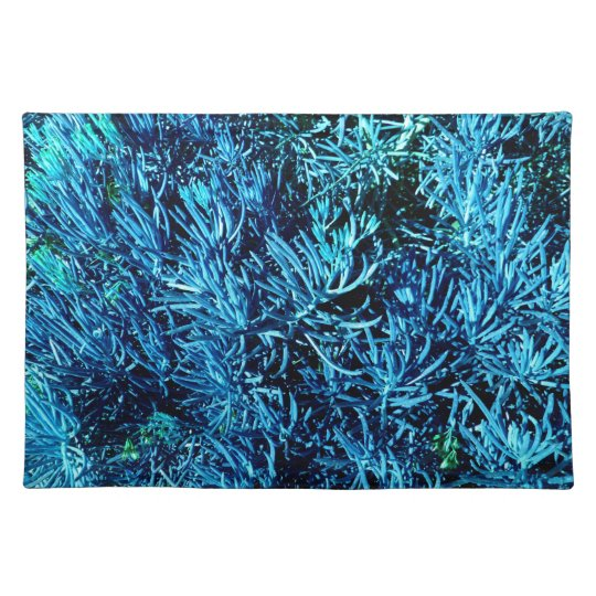 mass succulent stems abstract blue pattern cloth placemat