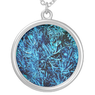 mass succulent stems abstract blue pattern round pendant necklace