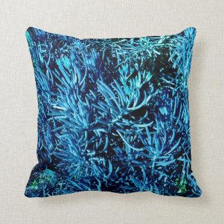 mass succulent stems abstract blue pattern throw pillow