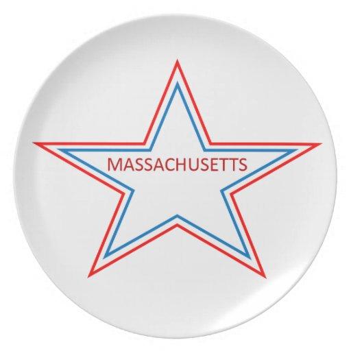 Massachusetta en una estrella platos para fiestas