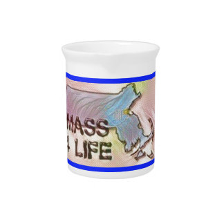 """""""Massachusetts 4 Life"""" State Map Pride Design Drink Pitcher"""