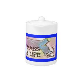 """Massachusetts 4 Life"" State Map Pride Design Teapot"
