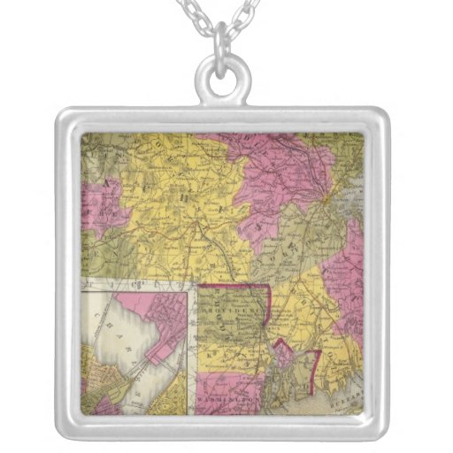 Massachusetts And Rhode Island 2 Square Pendant Necklace