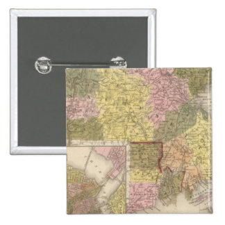Massachusetts And Rhode Island 2 Inch Square Button