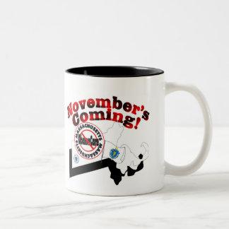 Massachusetts Anti ObamaCare – November's Coming! Two-Tone Coffee Mug