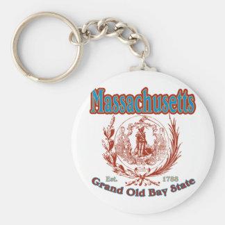 Massachusetts Basic Round Button Keychain