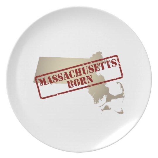 Massachusetts Born - Stamp on Map Dinner Plate