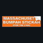 "Massachusetts Bumpah Stickah Funny Bumper Sticker<br><div class=""desc"">&quot;Massachusetts Bumpah Stickah (For The Cah)&quot; Funny, hilarious, bumper sticker for all Massachusetts license plate vehicles, all the vehicle owners in Massachusetts. A durable, vinyl, quality bumper sticker in fun orange background - for your car - wagon - atv - muv - suv - truck - trailer - vehicle. Makes...</div>"