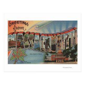 Massachusetts (Capital del Estado/flor) Tarjeta Postal