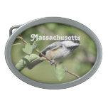 Massachusetts Chickadee Oval Belt Buckles
