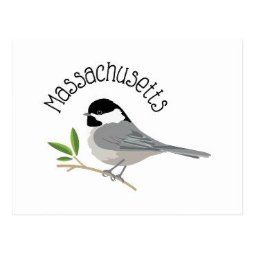 USA Themed Massachusetts Chickadee Postcard
