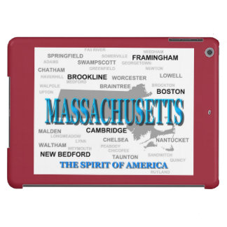 Massachusetts Cities and Towns State Map, Boston Cover For iPad Air
