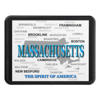 Massachusetts Cities and Towns State Map, Boston Hitch Cover