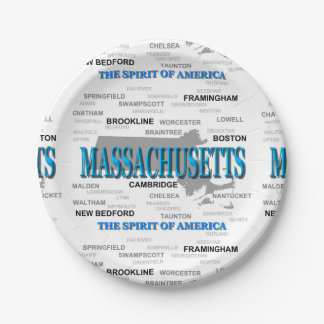Massachusetts Cities and Towns State Map, Boston Paper Plate