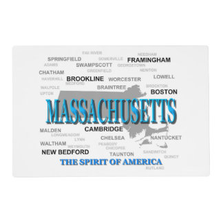 Massachusetts Cities and Towns State Map, Boston Placemat