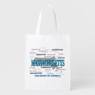 Massachusetts Cities and Towns State Map, Boston Reusable Grocery Bags
