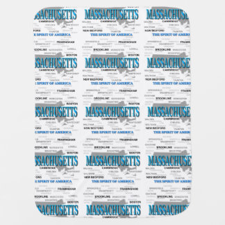 Massachusetts Cities and Towns State Map, Boston Stroller Blanket