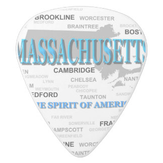 Massachusetts Cities and Towns State Map, Boston White Delrin Guitar Pick